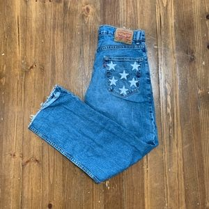 Custom Cutoff Levi's with Star Patches on Pockets